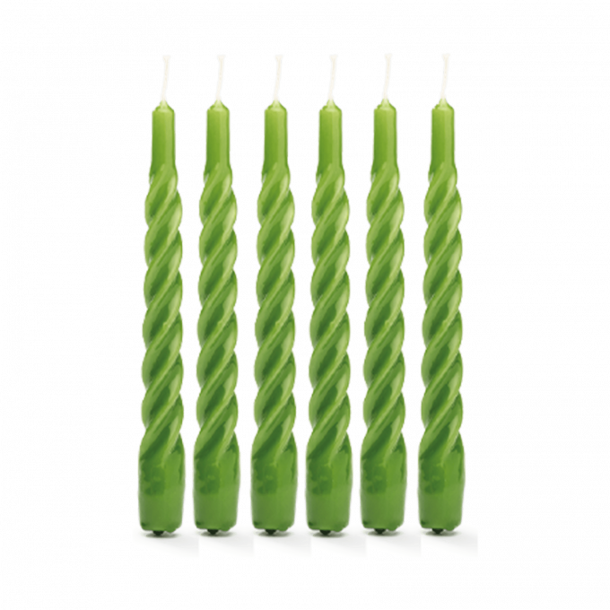 Moss green Twisted Candle Set of 6