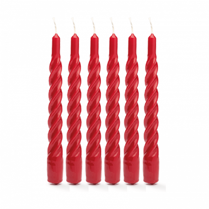 Red Twisted Candle Set of 6