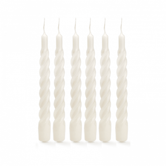White Twisted Candle Set of 6